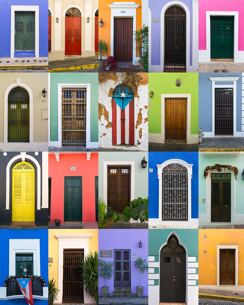 Doors Of Old San Juan Puerto Rico Bright Colorful Painted