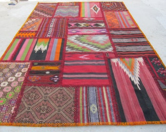 "Turkish kilim patchwork Area Rug -Hand stitched 109""x73,4""patchwork-turkey kilim"