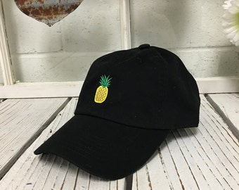 PINEAPPLE Dad Hat Fruit Baseball Hat Curved Bill Low Profile Embroidered Trending Hats, Baseball Caps Dad Caps Tumblr Fashion,  Black