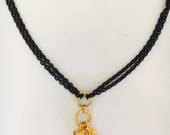 Black chain and Gold Vermeil Necklace