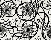 Spider Web Fabric, Hallowgraphix Bright 4HGC 3 In The Beginning Fabric, Jason Yenter, Black & Gray Halloween Quilt Fabric, Spiderweb, Cotton