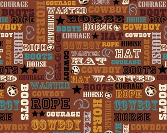 Cowboy Words Fabric, Sundown Fabric, Penny Rose Studio, C4884 Brown, Country Western Quilt Fabric, Western Words Fabric, Western Cotton
