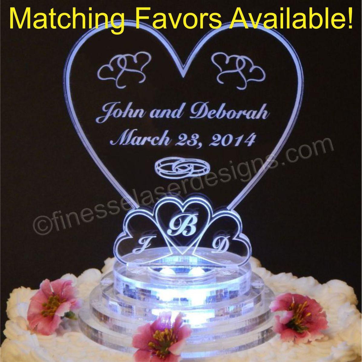 Monogram Heart Lighted Wedding Cake Topper Acrylic Top Custom