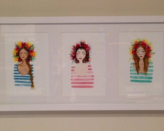 Mom and Daughters Flower Crown Portraits - Original Watercolor Illustrations - Set of 3