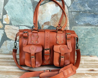 Cross Body bag Handmade Leather Satchel Women's Caramel color