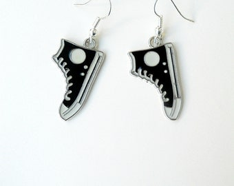 All star earrings,Dr Who Charm earrings,Converse All Stars,Black and white,Geeky Shoes,Novelty,Sneaker Charms,High top shoes,Running Shoes