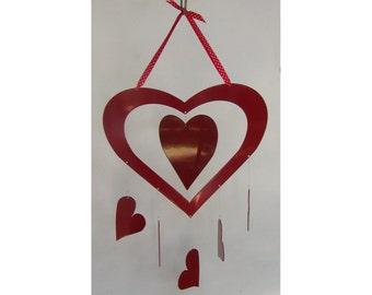 Metal Hanging Heart with Heart Dangles Windcatcher