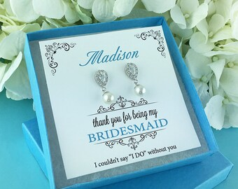 Bridesmaid Earrings, pearl bridesmaid earrings, Personalized bridesmaid jewelry, wedding jewelry, bridal party jewelry gift 267752934