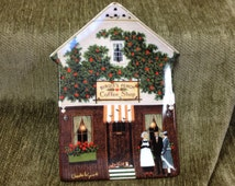 Birdie's Perch Coffee Shop, Charles Wysocki Folktown Collection Plate, Bradford Exchange, Porcelain Collector Plate, House Shaped Plate