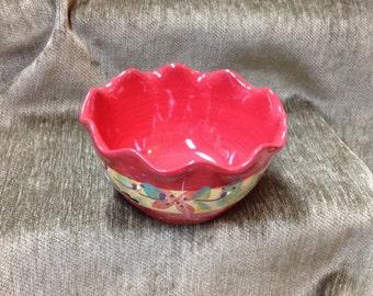Red Tuscan Floral Bowl by Ambience, Handpainted Bowl,  Salsa Bowl, Dip Bowl, Sauce Bowl