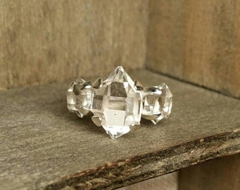 Large 3 Stone Ring- Herkimer Diamond (Double Terminated) Quartz Crystal Sterling Silver Past Present Future