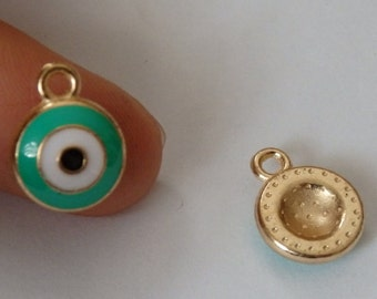 8 evil eye charms pendant beads enamel  wholesale jewellery making UK