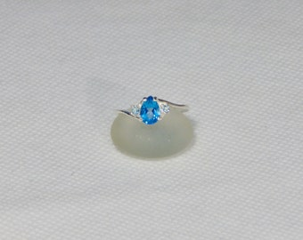 Blue Topaz Size 7 Pear Sterling Silver Ring