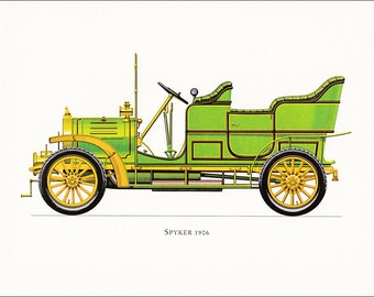 Spyker 1906 Dutch veteran car motoring green vintage print illustration home office décor boy's nursery 9.5 x 7 inches