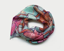 Long scarf habotai silk, plumeria print silk scarf, pink coral aqua scarf, floral unique handmade ladies scarves, thoughtful gift for mum