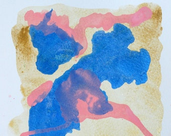 Pink Blue Gold Abstract Art Watercolor Painting Ink Painting