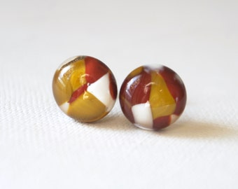 Brown and White Glass Stud Earrings, colourful fused glass on titanium posts
