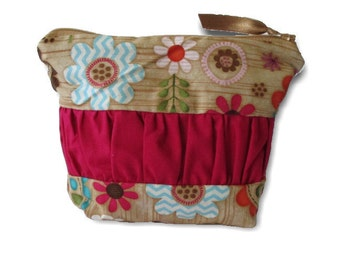 Zip Pouch | Cosmetic Bag | Toiletry Organiser| Travel Bag |medium Zip Pouch | cosmetic case, in the garden