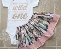 Wild One Tribal Princess First Birthday Outfit - onesie and skirt, girl birthday outfit, pink gold, arrow, aztec, feather, pow wow