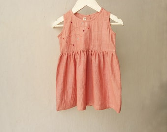 Hand-embroidered organic cotton girl's dress