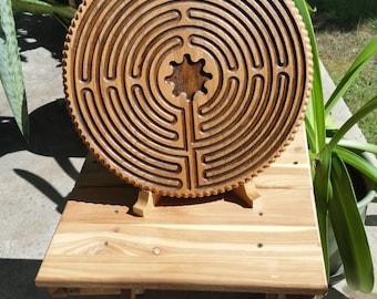 Large handmade wooden labyrinth - Finger meditation