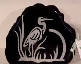 Paperweight • Black • An Etched Heron • Tinted in Silver • Standing Amid Marsh Reeds • Office Decor • Exclusive Design • Crafts by the Sea