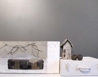 Original artwork, mixed media on canevas, Old suitcase, 12 x 24 inches