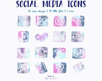 Digital Social Media Icon Images: 16 hand-painted watercolor icons in 3 sizes