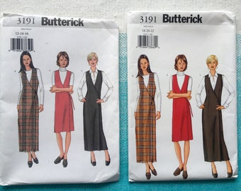 2000s Butterick 3191 Sewing Pattern Ladies Misses Wrap Jumper Dress V Neck Fitted Size 12-14-16-18-20-22 Bust 34-36-38-40-42-44 Plus Size