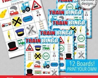 Trains Mini BINGO - Instant Download