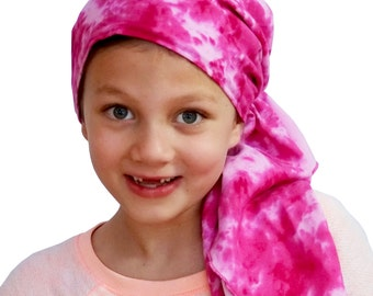 Ava Joy Children's Pre-Tied Head Scarf, Girl's Cancer Headwear, Chemo Head Cover, Alopecia Hat, Head Wrap for Hair Loss - Pink Tie Dye
