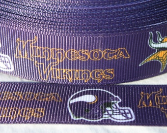 Vikings 7/8 Inch Grosgrain Ribbon by the Yard for Hairbows, Scrapbooking, and More!!