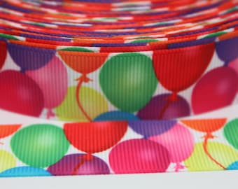 Balloon Ribbon 7/8 Inch Grosgrain Ribbon by the Yard for Hairbows, Scrapbooking, and More!!