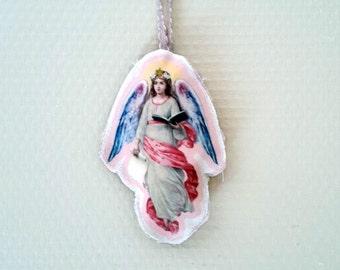 Art Doll Religious Guardian Angel Protector Home deco Door Hanger Collectibles Fabric doll cotton Children Bedroom deco Christmas gift Noël