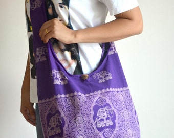 Lavender Hippie Elephant Bag Cotton Bag Crossbody Bag Hip Bag Tribal Bag Tote Bag Shoulder Bag Diaper Bag Boho Hobo Bag Messenger Bag Purse
