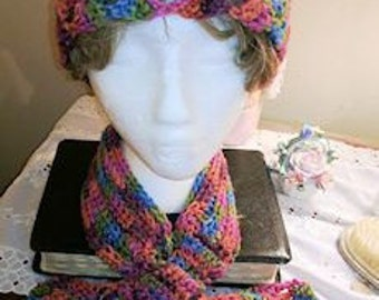 Neck Warmer and Hat Set, Raspberry Swirl