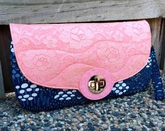 Clutch purse, large clutch, clutch bag, large purse, navy clutch, oversized clutch, navy coral clutch, coral purse