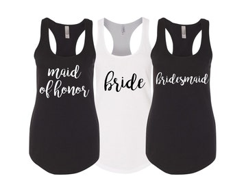 Set of 5 Bridesmaid Shirts, Bridesmaid Tank Tops, Bridesmaid Gift, Wedding Tank Tops, Maid Of Honor Shirt, Bachelorette Party Shirts