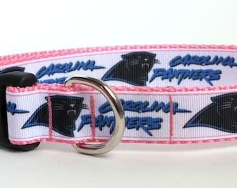Carolina Panthers on Pink Dog Collar