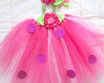 Beautiful Strawberry Shortcake Tutu Dress Costume for Baby Girl 6-18 Months First Halloween First Birthday