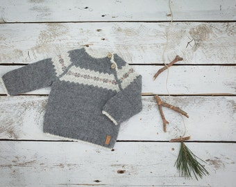 Fair isle sweater in grey / Hand knit alpaca baby pullover /