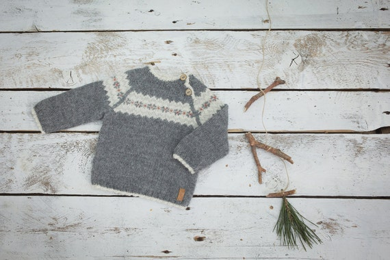Fair isle sweater in dark grey / Hand knit alpaca baby