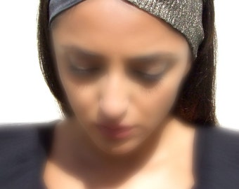 Turban Twist headband, Black and Gold, Adjustable, Casual, Formal