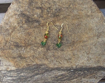 Autumn Elven Earrings - Fairy Jewelry - Flowers, Leaves, Magical, Charm