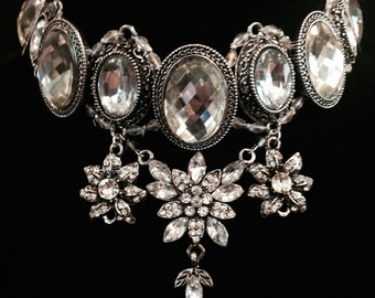 The Empress; Silver Crystals, Elegant Choker, Silver Crystal Flower Pendants, Bead Work, Victorian