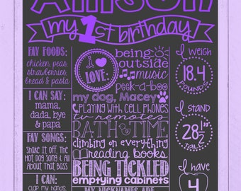 Purple Ombre First Birthday Chalkboard Poster | Girl Birthday Board | Ombre | Purple | Boy or Girl | Birthday Poster | *DIGITAL FILE*
