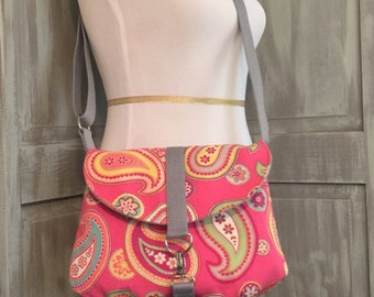 Pink Paisley Crossbody Bag with an Adjustable Strap