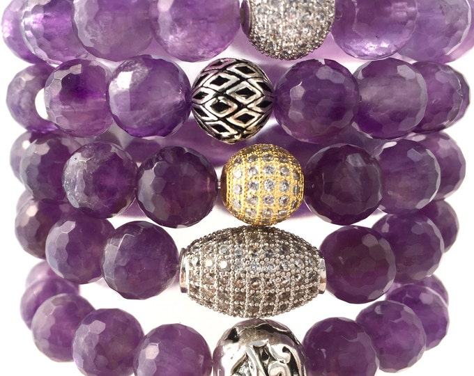 Amethyst Stack Bracelet- 10mm Amethyst Bracelet- Reduce Stress and Anxiety- Amethyst Gemstone Bracelet-  February Birthstone- Mothers Day