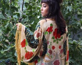 Boho Bridal Velvet Robe - Fringed Bridal Robe - Silk Bridesmaid Kimono Robe - Fringe Boho Brides Robe - Velvet Kimono - Gypsy Bridal Kimono