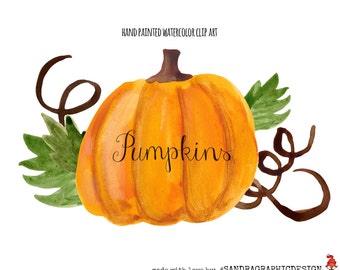 """Clip art: """"PUMPKIN""""  hand painted watercolor clip art, autumn clip art, 36 clipart 300 dpi PNG  files (5214)"""